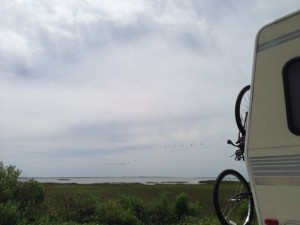 camped along Galveston Bay